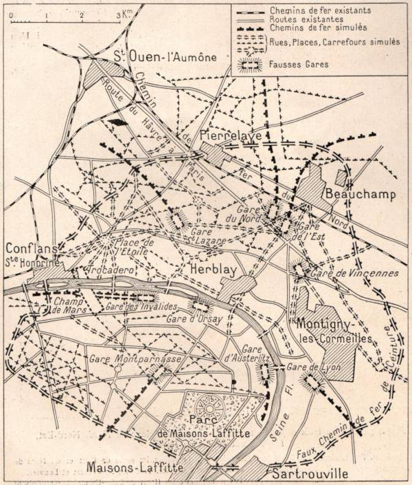 Map of a fake Paris between Maisons-Laffitte and Conflans-Sainte-Honorine.