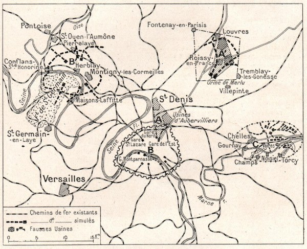 Map of false targets north, north-east, north-west, and east of Paris.